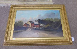 LATE 19TH / EARLY 20TH CENTURY GILT FRAMED OIL PAINTING OF RURAL SCENE 55 X 85CM