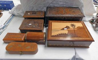 VARIOUS LEATHER & WOODEN BOXES Condition Report: The large box with carved