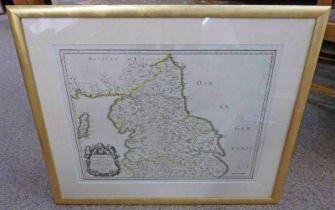 GILT FRAMED MAP: ANCIEN RYAUME DE NORTHUMBERLAND, PROVINCE DE NORT.
