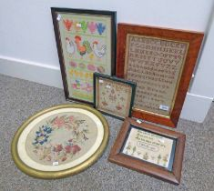 5 FRAMED SAMPLERS TO INCLUDE ONE BY SARAH EVANS AGED 10 YEARS, BIRCHGROVE BOARD SCHOOL,