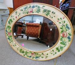 20TH CENTURY OVAL MIRROR WITH FLORAL DECORATED BORDER,