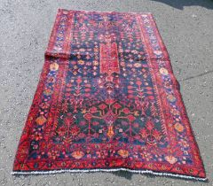 DEEP BLUE GROUND IRANIAN VILLAGE RUG WITH BESPOKE ALL OVER FLORAL PATTERN 240 X 150CM