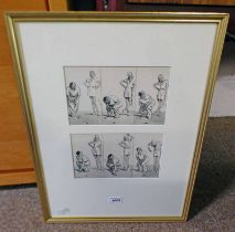 FRANK REYNOLDS GOLFING SCENES SIGNED PAIR OF FRAMED PEN AND INK DRAWINGS 13 X 22 CM EACH