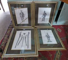 SET OF 4 FRAMED MILITARIA PRINTS OF WEAPONS, SUITS OF ARMOUR,