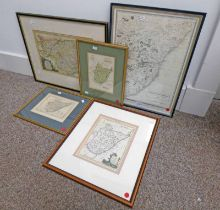 FRAMED COLOURED MAP OF THE MIDDLE PART OF SCOTLAND PUBLISHED BY ALEXANDER HOGG AND 4 FRAMED MAPS OF