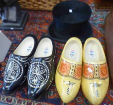 2 PAIRS OF WOODEN CLOGS & TOP HAT