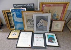 SELECTION OF VARIOUS PICTURES TO INCLUDE GILT FRAMED PENCIL DRAWING OF A GENTLEMAN RIDING A HORSE,