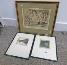 """GILT FRAMED ETCHING """"GUNS OF THE SUNNY SOUTH"""" BY DOUGLAS PRATT, SIGNED IN PENCIL NO 30/90 ,"""