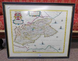 FRAMED PRINT MAP OF FIFE FROM 1662 - 41 X 51 CM, PRINT OF SIENA ON BOARD - 76 X 50 CM,