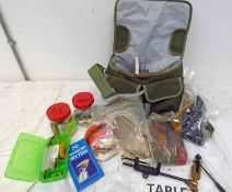 GREEN CANVAS FISHING BAG WITH CONTENTS OF FLY TYING EQUIPMENT TO INCLUDE FEATHERS, LINE, FLIES,