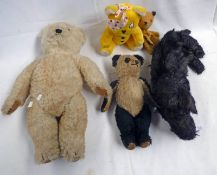 VINTAGE PANDA TEDDY BEAR (LENGTH - 35CM) TOGETHER WITH SOOTY HAND PUPPET,