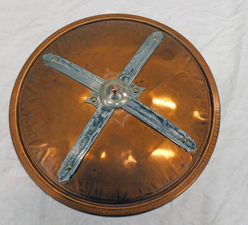 REPRODUCTION CELTIC SHIELD, 49 CM DIAMETER, COPPER DOMED BODY,