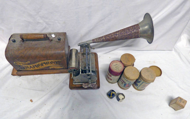 COLUMBIA GRAMOPHONE WITH TURN IN CASE AND A SELECTION OF EDISON RECORDS