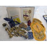 BRASS BLOW LAMP, CHEMISTS BOTTLE, ROYAL AIR FORCE SILK, WHITE STAR LIVERPOOL BRASS LAMPS,