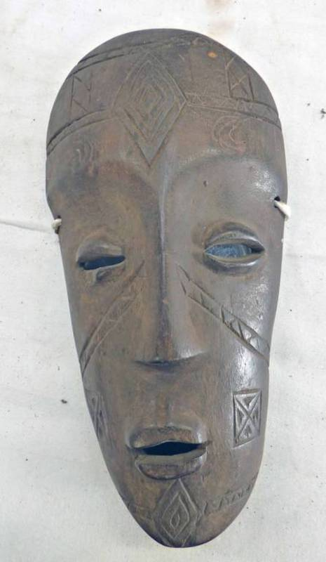 MAKONDE LIPICO HELMET MASK WITH INSET HAIR AND INCISED DECORATION,