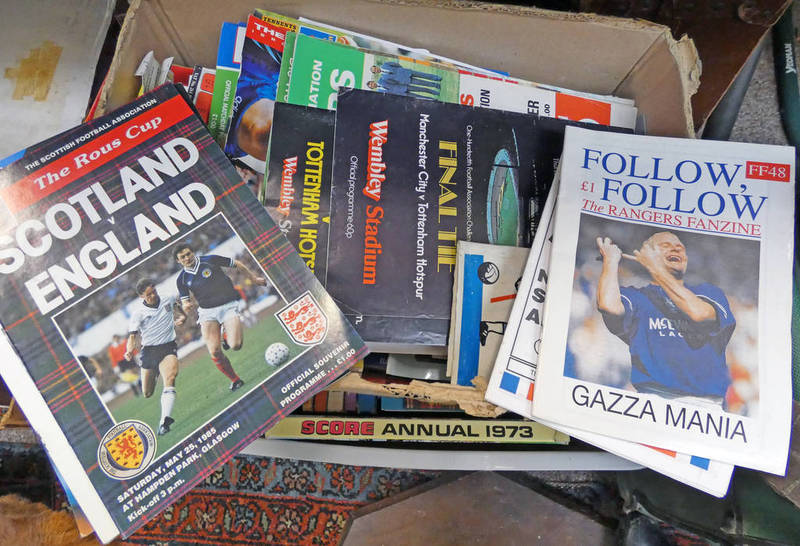 GOOD SELECTION OF FOOTBALL PROGRAMMES TO INCLUDE 1980 WORLD CUP, RANGERS 1993-1994 REPLACEMENT BOOK,