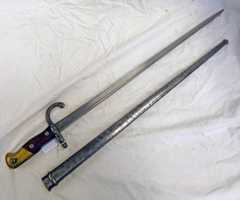 FRENCH GRAS BAYONET WITH 52CM LONG BLADE, SPINE MARKED ST.