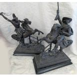 COWBOY AND INDIAN METAL STATUES