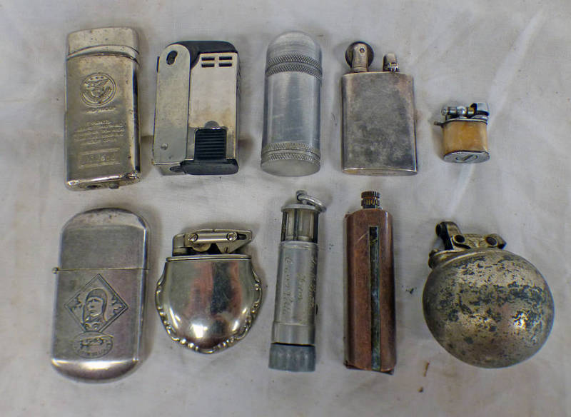 10 LIGHTERS TO INCLUDE A DIXON EXAMPLE, SPIRIT OF ST LOUIS , MINERS LAMP STYLE LIGHTER,