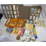 SELECTION OF CIGARETTE CARDS TO INCLUDE RADIO CELEBRITIES, PLAYING CARDS, COINS,