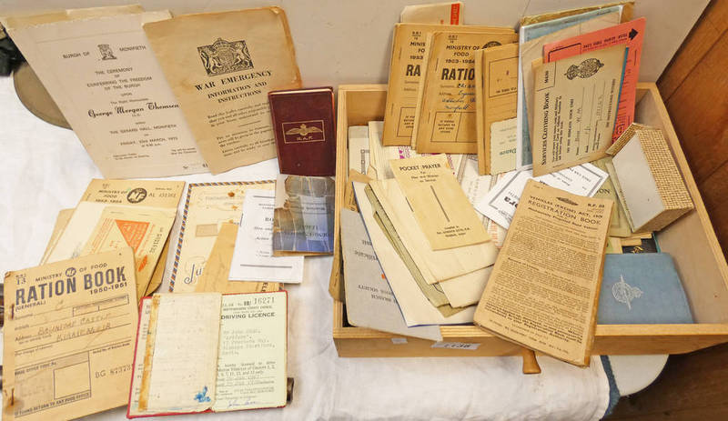 A GOOD SELECTION OF WW2 RATION BOOKS, STAMPS, DRIVING LICENCES,