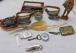 SELECTION OF HABERDASHERY TO INCLUDE CURLING STONE INKWELLS, CASED INSTRUMENT SET,