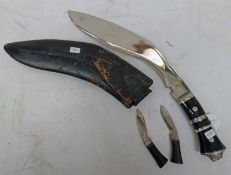 KUKRI WITH ETCHED BLADE , BONDED GRIP,