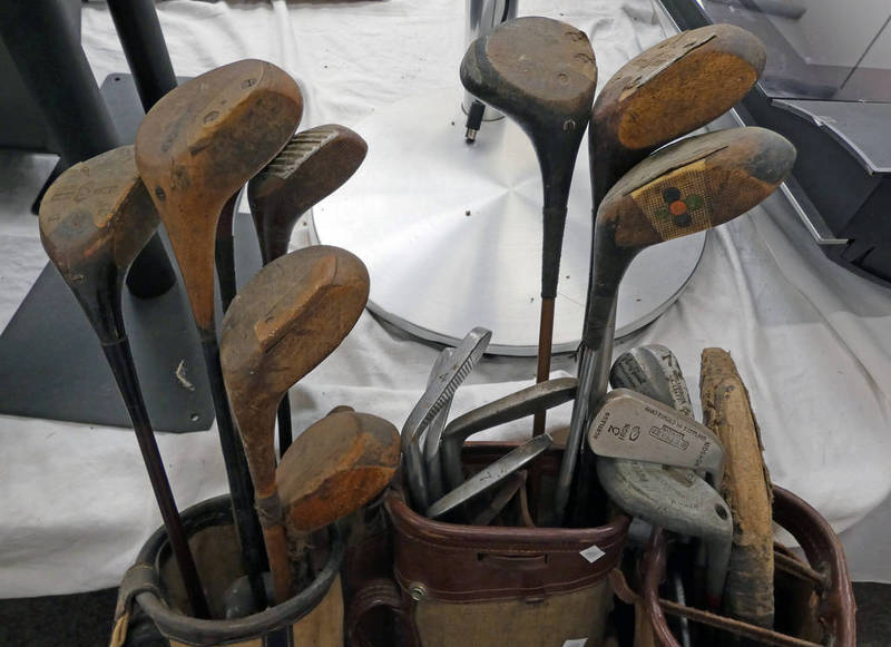 SELECTION OF HICKORY SHAFTED AND OTHER GOLF CLUBS IN 3 BAGS