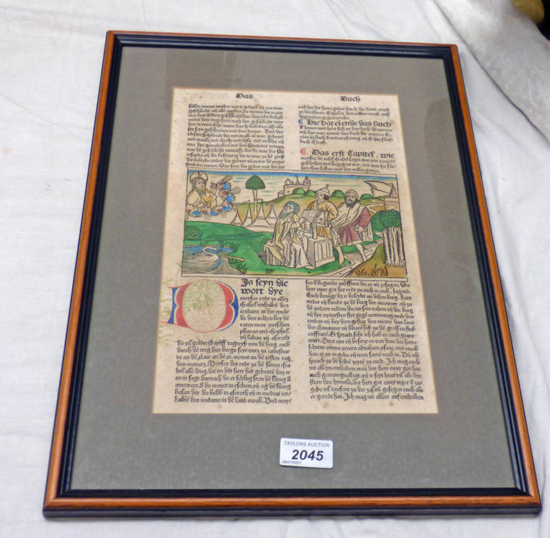 """FRAMED WOODCUT BOOK PAGE COLOUR WITH LABEL TO REVERSE """"ILLUSTRATION FROM THE COLOGNE BIBLE 1478/79"""""""