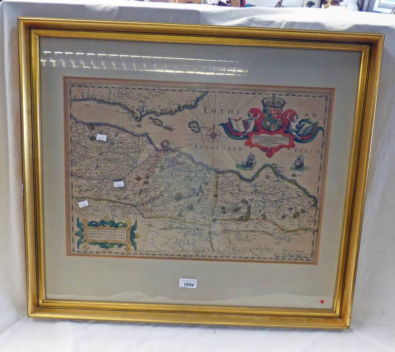 GILT FRAMED MAP OF SOUTHERN SCOTLAND, EDINBURGH,