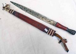 TRIBAL SMALL SWORD WITH 34CM LONG DOUBLE EDGED LEAF SHAPED BLADE WITH ITS LEATHER COVERED GRIP AND