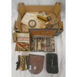 EARLY 20TH CENTURY FISHING WALLETS, EARLY 20TH CENTURY JAPANNED FISHING BOXES, LINES ,