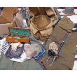 BRADY FISHING BAG WITH CONTENTS TO INCLUDE A GOOD SELECTION OF LURES, FEATHERS, LINE,