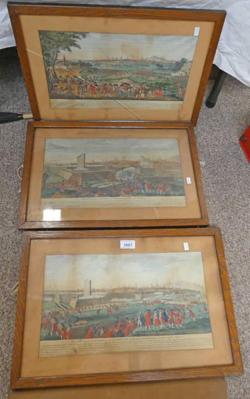 THREE FRAMED HAND COLOURED PRINTS BY LAURIE & WHITTLE ,