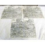 3 WW2 RAF ESCAPE MAPS, SINGLE SIDED 1:3,000,000 SCALE OF GERMANY,