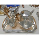 PICQUOT WARE TEASET AND TRAY