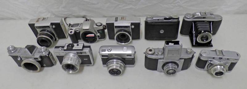 SELECTION OF 10 35MM SLR CAMERAS INCLUDING CANON 500N, RICOH 126 C AUTOMATIC,