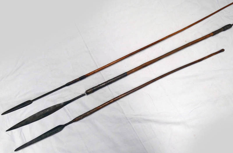 3 TRIBAL SPEARS WITH METAL TIPS,
