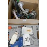 VARIOUS TOOLS, ETC TO INCLUDE SOLDERING IRON G-CLAMPS, SHOOTING TARGET,