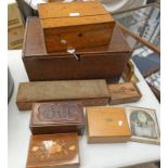 19TH CENTURY INLAID BOX, CARVED OAK BILL BOX,