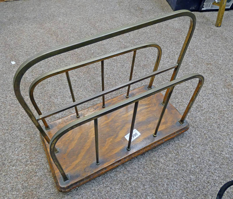 EARLY 20TH CENTURY BRASS MOUNTED NEWSPAPER RACK