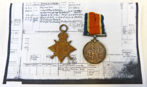 1914-15 STAR AND BRITISH WAR MEDAL 1914-19 FOR R.M.A. E.R.