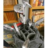 WILSON GOLF BAG WITH CONTENTS OF GOLF CLUBS TO INCLUDE A BEN SAYERS M1 PUTTER, WS DI5 IRONS,