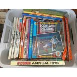 SELECTION OF FOOTBALL ALBUMS AND PROGRAMMES TO INCLUDE SCORE SCORE 1973, SCOTLAND V BELGIUM 1979,