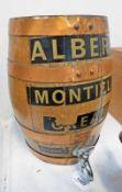 MINIATURE 4 BAND WOODEN WHISKY/SPIRIT CASK MARKED 'ALBERTO MONTILLA CREAM PRODUCE OF SPAIN' 35.