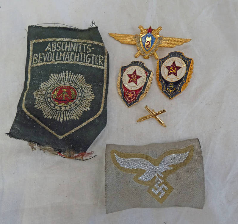 RUSSIAN CCCP PATCHES AND BADGES ALONG WITH A GERMAN STYLE WW2 STYLE CLOTH PATCH