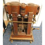 HAND DRIVEN MODEL ENGINE WITH VERTICAL PISTONS, BRASS RODS AND MOUNTS,