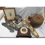 TWO MANTLE CLOCKS, VARIOUS SHELLS, BRASS HORSE BITS,