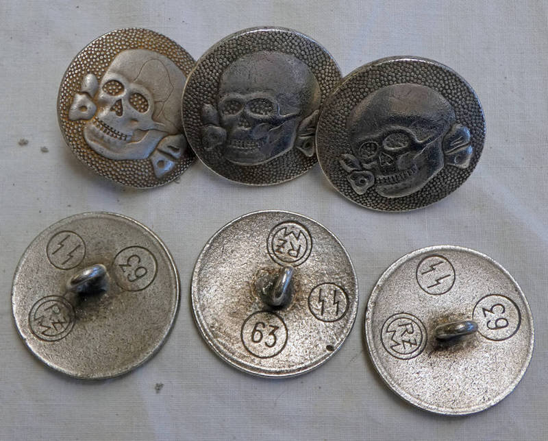 6 GERMAN STYLE SS STYLE TUNIC BUTTONS WITH VARIOUS MARKINGS TO REAR