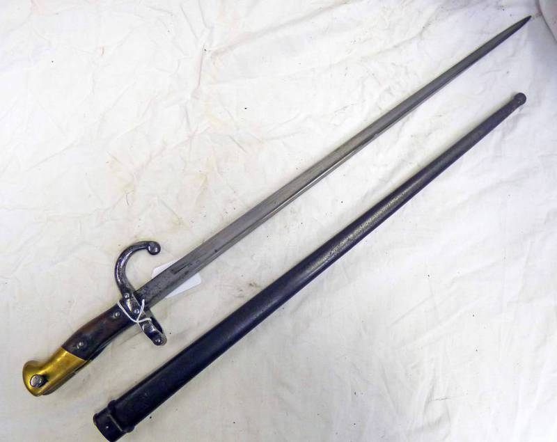 FRENCH GRAS BAYONET WITH 52CM LONG BLADE WITH SPINE MARKED OULLE 1876,